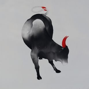 Bull 105 by Nihal Vikram Raju, Illustration Painting, Acrylic on Canvas, Gray color