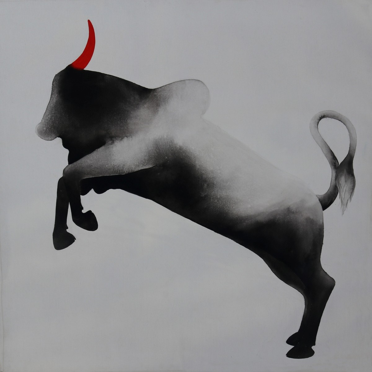 Bull 50 by Nihal Vikram Raju, Illustration Painting, Acrylic on Canvas, Gray color