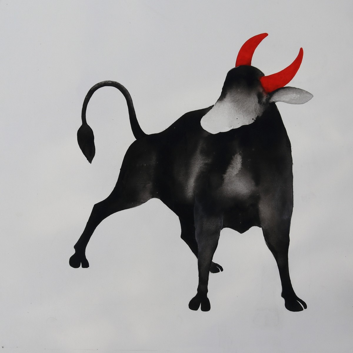 Bull 59 by Nihal Vikram Raju, Illustration Painting, Acrylic on Canvas, Gray color