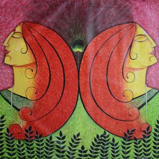 Radha and Meera by Gitanjali Sahoo, Decorative Painting, Acrylic on Canvas, Brown color