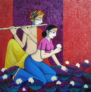 Music and Romantic couple by Pravin Utge, Expressionism Painting, Acrylic on Canvas, Blue color