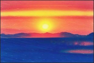 Pratibimb: Outlander by Atul Pandita , Image Digital Art, Digital Print on Canvas, Blue color