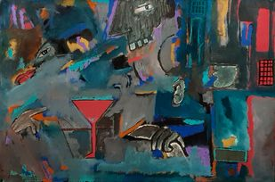 The Bar by Pankaj Mishra, Abstract Painting, Acrylic on Canvas, Green color