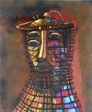 BRAIN FRY 2 by Ritu Dhillon, Expressionism Painting, Acrylic on Wood, Brown color