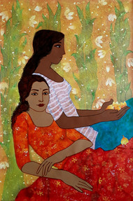 sister Iv by Monica Ghule, Expressionism Painting, Acrylic on Canvas, Beige color