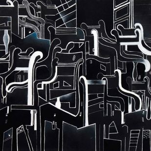 The Chair City II by Alka Jhamb, Conceptual Painting, Pen & Ink on Canvas, Gray color