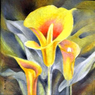Yellow Lilies by Dhiren Sasmal, Impressionism Painting, Acrylic on Canvas, Beige color