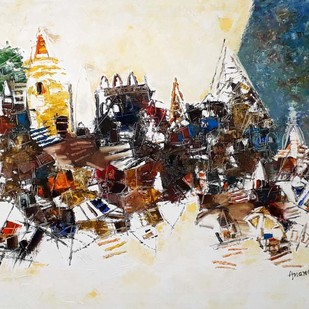 Banaras 7-2018 by Anand Narain, Abstract Painting, Oil on Canvas, Beige color