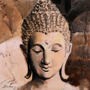 Buddha 7 by Sulakshana Dharmadhikari, Expressionism Painting, Acrylic on Canvas, Brown color