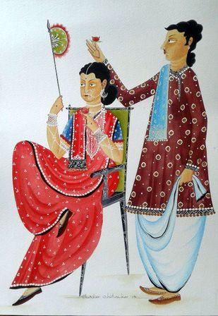 Babu-Bibi in a romantic mood by Bhaskar Chitrakar, Folk Painting, Natural colours on paper, Gray color
