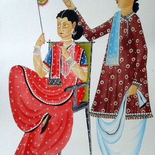 Babu-Bibi in a romantic mood by Bhaskar Chitrakar, Folk Painting, Natural colours on paper, Gray color