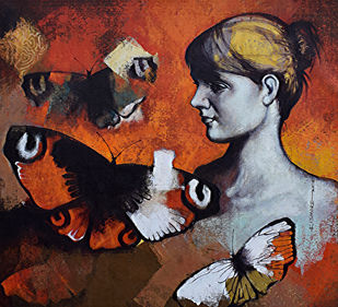 She_01 by Kishore Pratim Biswas, Expressionism Painting, Acrylic on Acrylic Sheet, Brown color