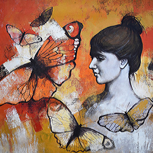She_03 by Kishore Pratim Biswas, Expressionism Painting, Acrylic & Ink on Canvas, Brown color