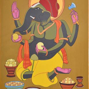 Untitled (Ganesh) by Thota Vaikuntam, Expressionism Printmaking, Serigraph on Paper, Brown color