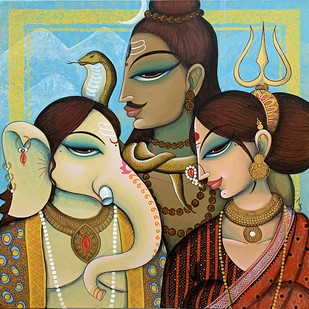 ganesha family by Varsha Kharatmal, Traditional Painting, Acrylic on Canvas, Brown color