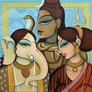 ganesha family by Varsha Kharatmal, Traditional Painting, Acrylic on Canvas, Brown color