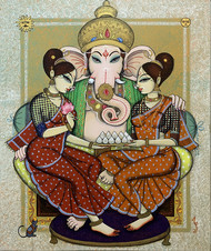 ganesha with riddi siddi by Varsha Kharatmal, Traditional Painting, Acrylic on Canvas, Beige color