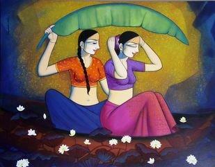 Monsoon by Pravin Utge, Expressionism Painting, Acrylic on Canvas, Blue color