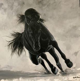 Running Horse by Gita Jain, Illustration Painting, Mixed Media on Canvas, Beige color