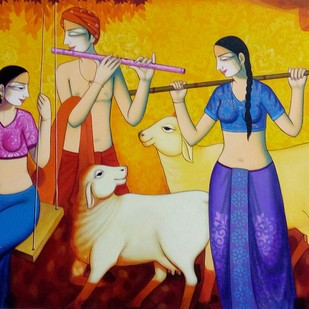 Enjoy music by Pravin Utge, Expressionism Painting, Acrylic on Canvas, Brown color