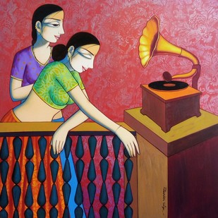 Music by Pravin Utge, Expressionism Painting, Acrylic on Canvas, Brown color