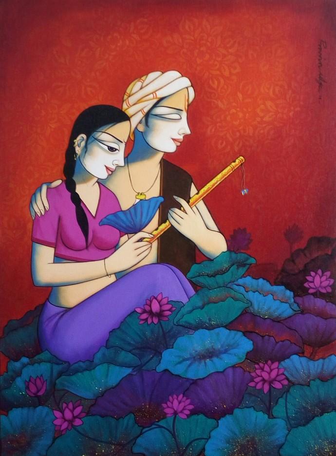 lyrics by Pravin Utge, Expressionism Painting, Acrylic on Acrylic Sheet, Blue color