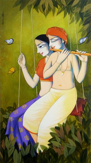 Couple by Pravin Utge, Traditional Painting, Acrylic on Canvas, Green color