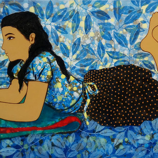 childhood memories I by Monica Ghule, Fantasy Painting, Acrylic on Canvas, Blue color