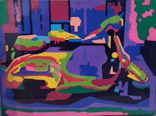 Metropolitan - 1 by Suchit Sahni, Pop Art Drawing, Acrylic on Canvas, Blue color