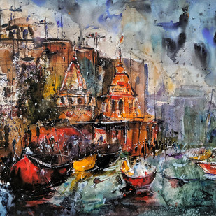 Varanasi Calling... by Suvarna Dheringe, Expressionism Painting, Watercolor on Paper,