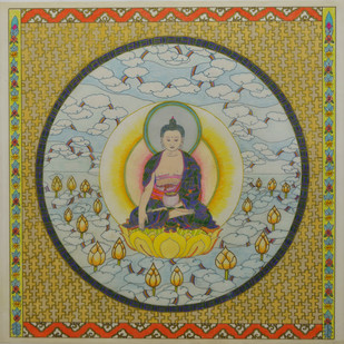 Shakyamuni (Gautam Buddha) by Deepika Kapur, Expressionism Painting, Color Pencil on Paper, Beige color