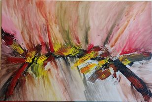 Abstract Acrylic painting by N S Jhanjheria, Abstract Painting, Acrylic on Canvas, Brown color