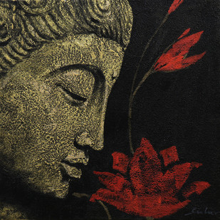 Buddha 3 by Sulakshana Dharmadhikari, Expressionism Painting, Acrylic on Canvas, Brown color