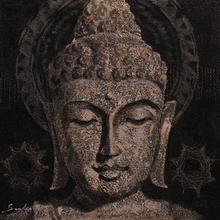 Buddha 2 by Sulakshana Dharmadhikari, Expressionism Painting, Acrylic on Canvas, Brown color