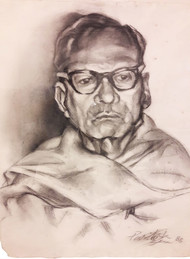 Figurative by Paritosh Sen, Illustration Painting, Charcoal on Paper, Pink color