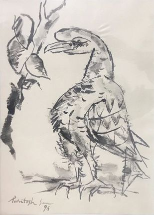 Bird by Paritosh Sen, Illustration Painting, Charcoal on Paper, Pink color