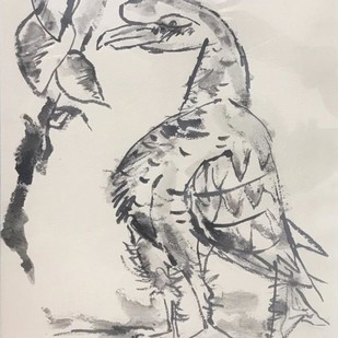 "Bird, Charcoal on Paper, Black & White Colours by Modern Artist ""In Stock"" by Paritosh Sen, Illustration Painting, Charcoal on Paper, Pink color"