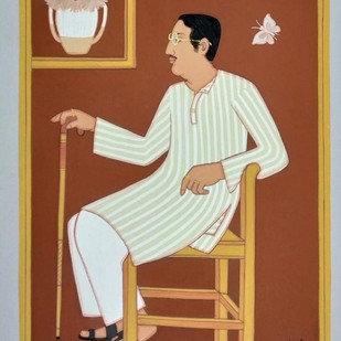 "Bengali Babu, Tempera on Board, Red, Blue, Brown by Master Artist ""In Stock"" by Lalu Prasad Shaw, Expressionism Painting, Tempera on Board, Brown color"