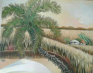 """Landscape, Village, Acrylic on Canvas, Green by Modern Indian Artist """"In Stock"""" by Prokash Karmakar, Impressionism Painting, Acrylic on Canvas, Beige color"""