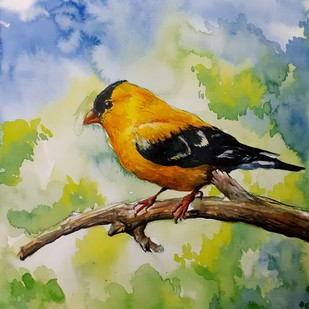 Yellow Bird by Rajmohan, Impressionism Painting, Watercolor & Ink on Paper, Beige color