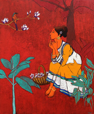 Bird with Girl by Deepali S, Expressionism Painting, Acrylic on Canvas, Red color