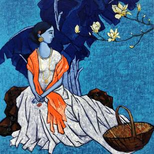 Love by Deepali S, Expressionism Painting, Acrylic on Canvas, Blue color