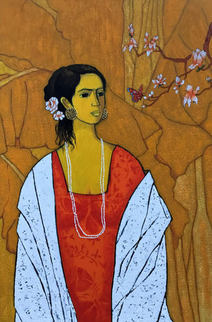 Girl with Butterfly by Deepali S, Expressionism Painting, Acrylic on Canvas, Brown color