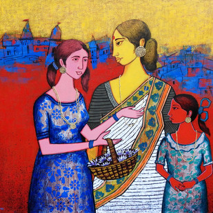 Mother by Deepali S, Expressionism Painting, Acrylic on Canvas, Blue color