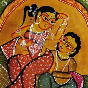 Babu & Bibi - Intimate Moments by Unknown Artist, Folk Painting, Natural colours on paper, Brown color