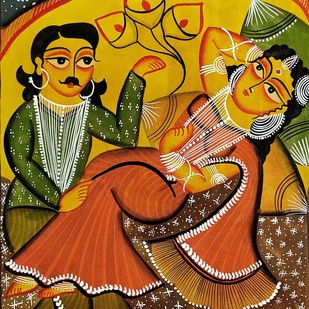 Babu & Bibi - Romancing by Unknown Artist, Folk Painting, Natural colours on paper, Brown color