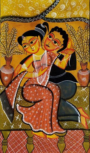 Babu & Bibi - Babu Embracing Bibi by Unknown Artist, Folk Painting, Natural colours on paper, Brown color