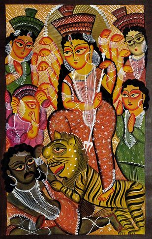 """Goddess Durga - """"Mahisasurmardini"""" by Unknown Artist, Folk Painting, Natural colours on paper, Brown color"""