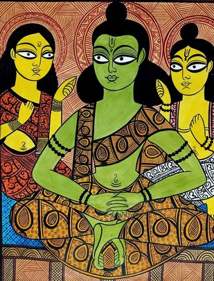 Ram-Lakshman-Sita in Panchwati by Unknown Artist, Folk Painting, Natural colours on paper, Brown color