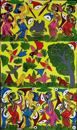 Festivities in Santhal Tribe by Unknown Artist, Folk Painting, Natural colours on paper, Green color